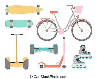 vettore, mezzi, set, trasporto, icone