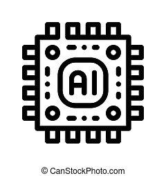 vettore, microchip, segno, intelligenza, artificiale, icona