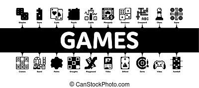 vettore, minimo, bambini, infographic, bandiera, giochi, interattivo