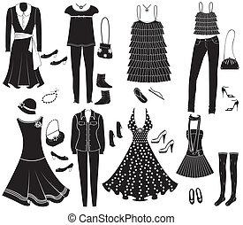 vettore, moda, vestiti, e, accessori, per, weman, per, disegno