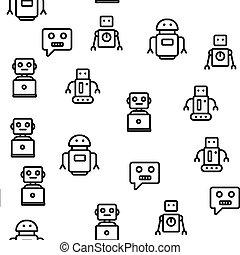vettore, modello, seamless, tecnologia, robot, alto