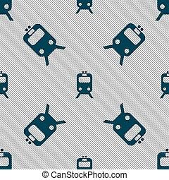 vettore, modello, segno., seamless, treno, geometrico, texture., icona