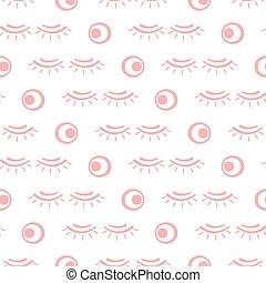 vettore, modello, trucco, eyelashes., seamless
