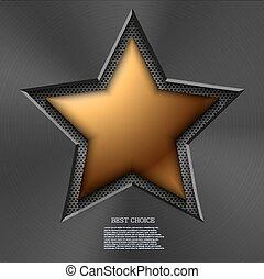 vettore, moderno, stella oro, fondo.