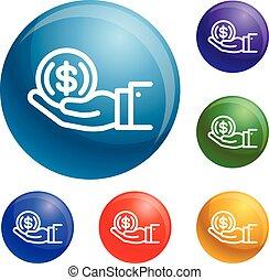 vettore, moneta, set, mano, icone