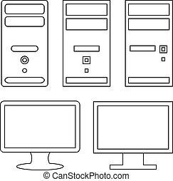 vettore, monitor, computer
