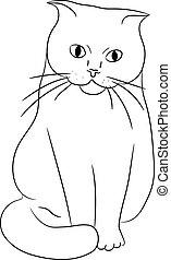 vettore, monocromatico, gatto, illustrazione, seduta