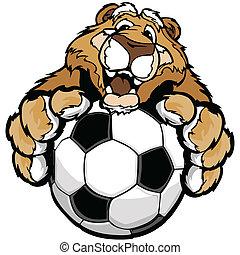 vettore, montagna, grafico, immagine, amichevole, coguaro, leone, palla, calcio, paws, o, mascotte