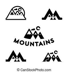 vettore, montagna, set, campeggio, andando gita, montagne, logo., set., icone, avventure, leisure., esterno, turismo, logotipo, organizzazioni, turismo, eventi, viaggiare