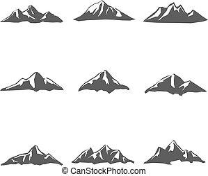 vettore, montagna, set, nove, icone
