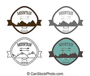 vettore, montagna, stile, concetto, campeggio, icone, vendemmia, campeggio, etichette, logotype, esterno, set, retro, attività, logotipo, templates., viaggiare, set., tesserati magnetici, design.