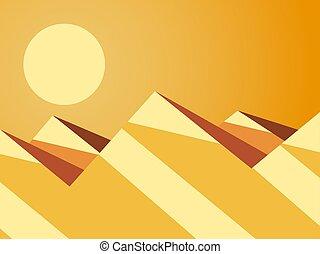 vettore, montagna, style., paesaggio., deserto, dune, appartamento, caldo, day., soleggiato, illustrazione