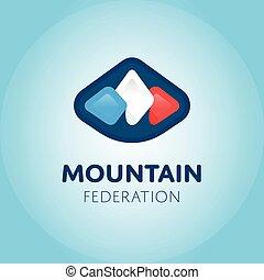 vettore, montagne, logotipo