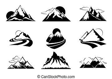 vettore, montagne, set, illustration., andando gita, montagna, viaggiare, ozio, silhouette, esterno