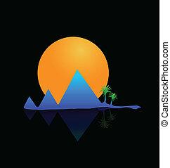vettore, montagne, sole, e, palme, logotipo