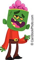 vettore, mostro, divertente, cartone animato, verde, zombie, halloween, illustrazione