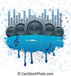 vettore, musica, fondo