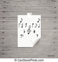 vettore, musica, note., illustrazione