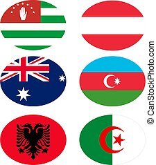 vettore, names., set, bandiere, illustrazione