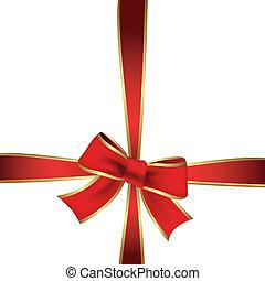 vettore, nastro, rosso, regalo
