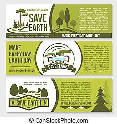 vettore, natura, pianeta, protezione, terra, bandiere, risparmiare