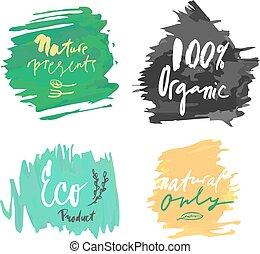 vettore, naturale, organico, etichetta prodotto