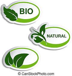 vettore, naturale, simboli, -, adesivi, con, foglia, pianta