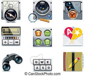vettore, navigazione, icons., p.2, gps