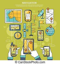 vettore, navigazione, illustrazione