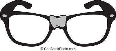 vettore, nerd, occhiali