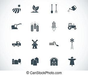 vettore, nero, agricoltura, set, icone