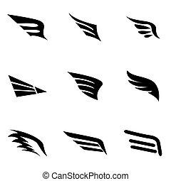 vettore, nero, ala, icona, set
