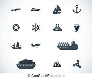 vettore, nero, barca, set, icone, nave