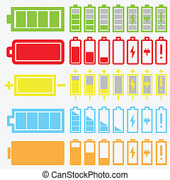 vettore, nero, batteria, icone, set