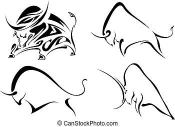 vettore, nero, bulls., immagini, bufalo, astratto, set, bianco, selvatico, illustrazione, fondo.