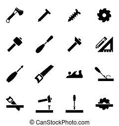 vettore, nero, carpenteria, icona, set