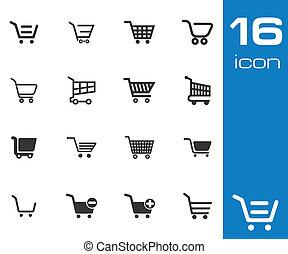 vettore, nero, carrello, set, shopping, icone