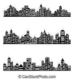 vettore, nero, città, icone, set