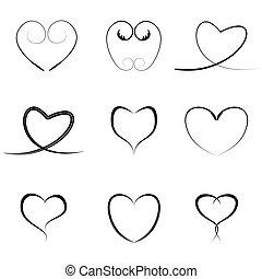 vettore, nero, cuori, icone, set