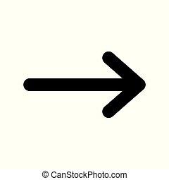 vettore, nero, destra, simbolo., freccia, icon.