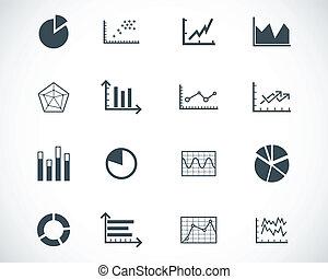 vettore, nero, diagramma, set, icone