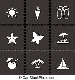 vettore, nero, estate, icone, set
