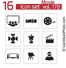 vettore, nero, film, icone, set