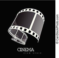 vettore, nero, film, illustrazione, striscia