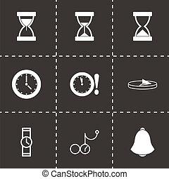 vettore, nero, icone tempo, set