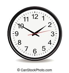 vettore, nero, illustrazione, orologio