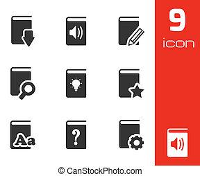 vettore, nero, libri, set, icone