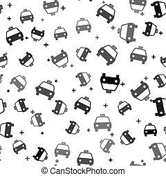 vettore, nero, modello, icona, isolato, tassì, bianco, automobile, seamless, illustrazione, fondo.