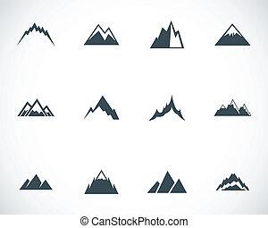 vettore, nero, montagne, icone, set