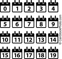 vettore, nero, numero, icone